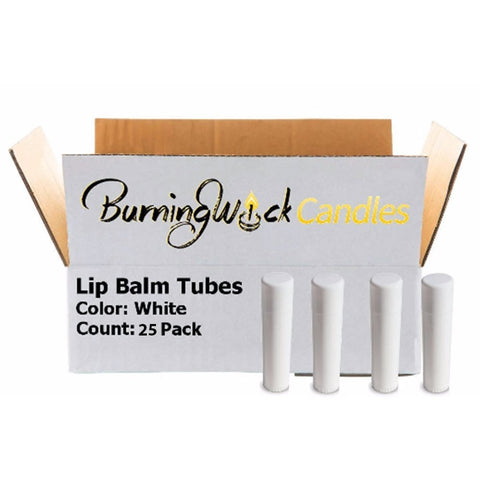 25 Empty Lip Balm Containers - Bulk Chapstick Tubes BPA Free - DIY Lipstick - Make Your Own Lip Gloss - 0.15oz - White