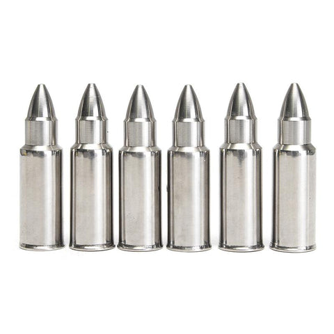 Stainless Steel Bullet Shaped Ice Cube Whiskey Stones Set of 6