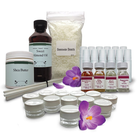DIY Lip Balm Making Kit - Gluten Free - Peppermint, Pina Colada, Black Cherry and Strawberry-Kiwi