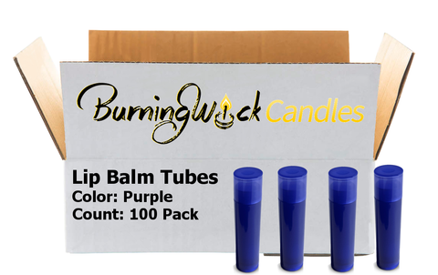 100 Pack Empty Lip Balm Tubes Containers- Purple