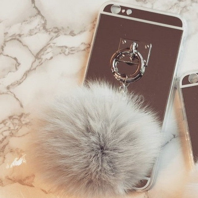 iPhone PomPom Tassel Back Mirror Cover Case