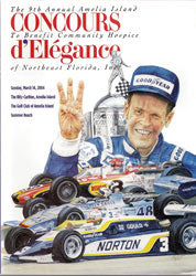 Official 2004 Event Poster for The Annual Amelia Island Concours d'Elegance SIGNED by Honoree Bobby Unser