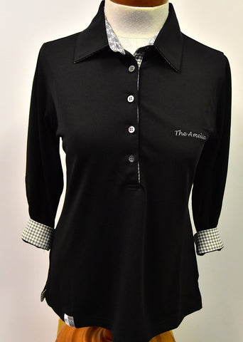 "Limited Edition Ladies 3/4 sleeve ""The Amelia"" Black Polo"