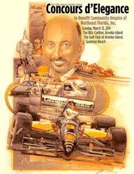 Official 2011 Event Poster for The Annual Amelia Island Concours d'Elegance SIGNED by Honoree Bobby Rahal
