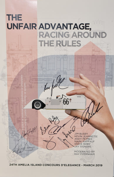 Autographed The Unfair Advantage - Racing Around the Rules Seminar Poster