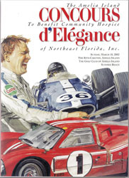 Official 2002 Event Poster for The Annual Amelia Island Concours d'Elegance SIGNED by Honoree Dan Gurney