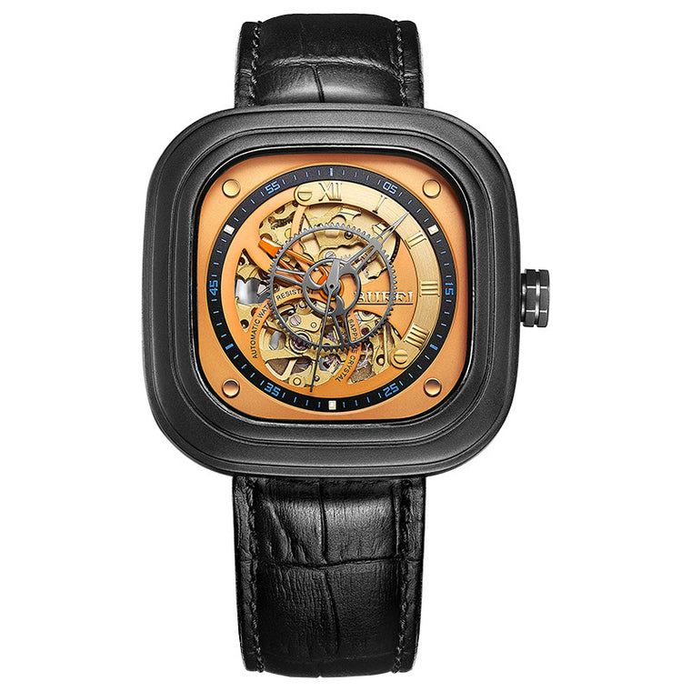"BUREI ""15008"" Automatic Skeleton Navy Watch"