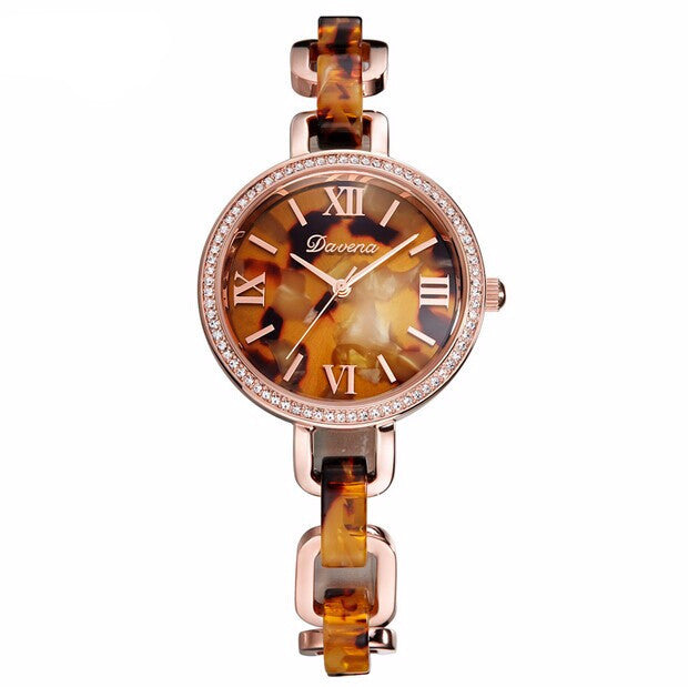 """Oh Honey"" Swarovski Crystal & Amber Super-Slim Quartz Watch"