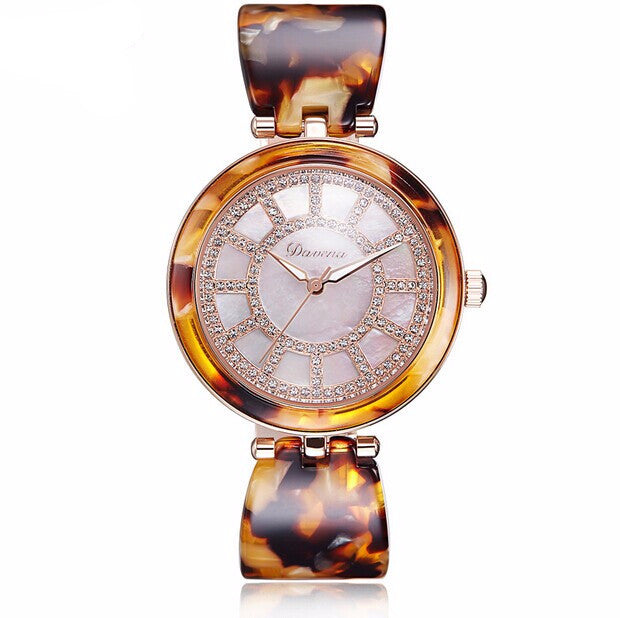"""Vogue Girls"" Swarovski Crystal & Amber Super -Slim Quartz Watch"