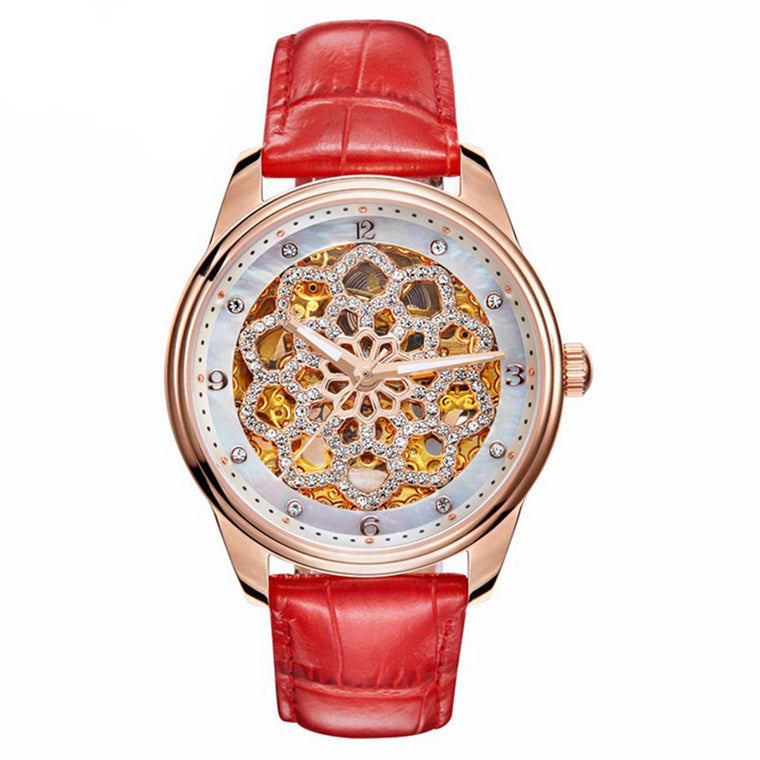 """Cuir de Russie"" Swarovski Crystal Mechanical Watch"