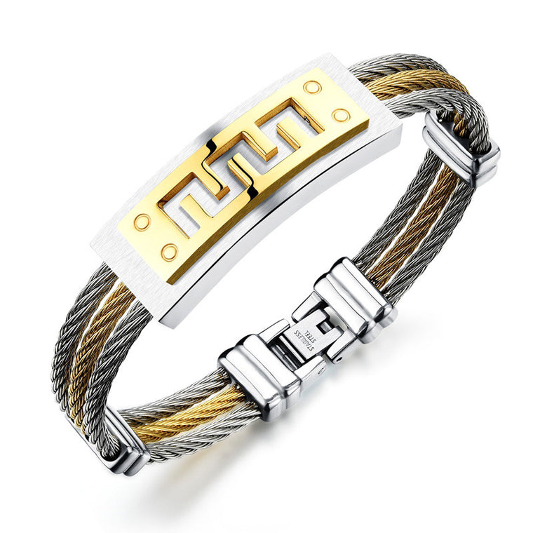 Stainless Steel Braided Great Wall Pattern Bangle MGH784