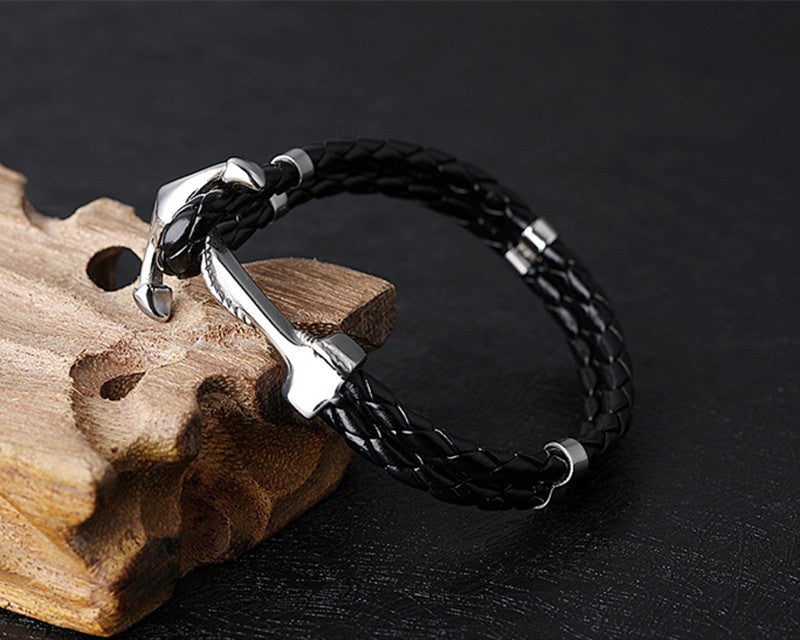 Leather & Stainless Steel Anchor Bracelet LPH1099