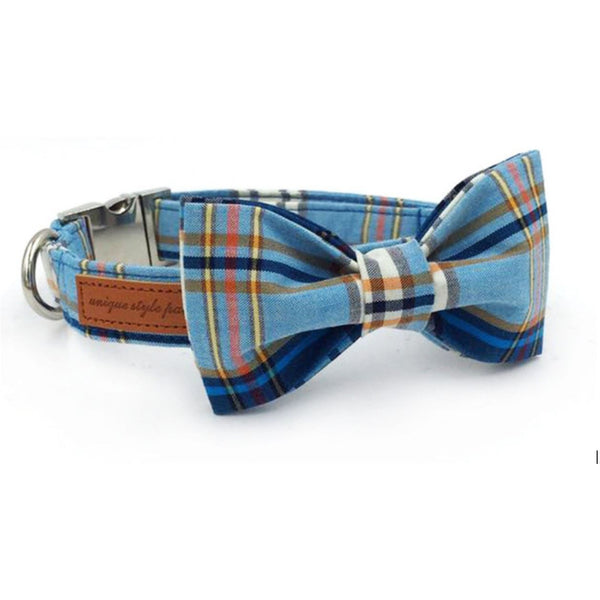 Doggie Trends collar and leash set Blue plaid dog collar and leash set with bowtie