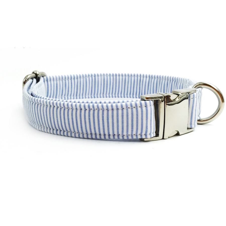 Doggie Trends collar Blue and white striped dog collar with bowtie