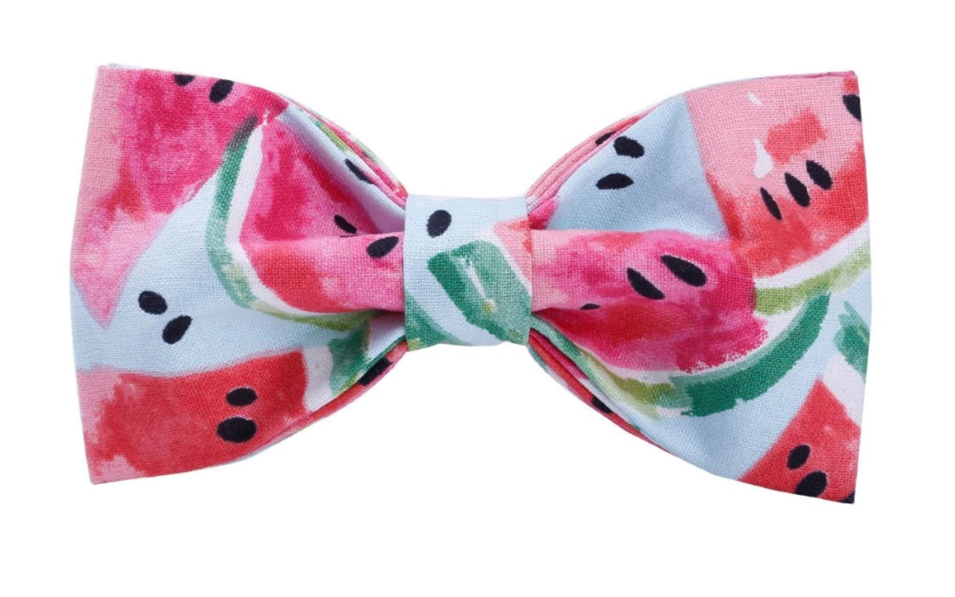 "Doggie Trends collar collar with bowtie / XS 8""12"" neck Watermelon Print Bow Tie dog collar"