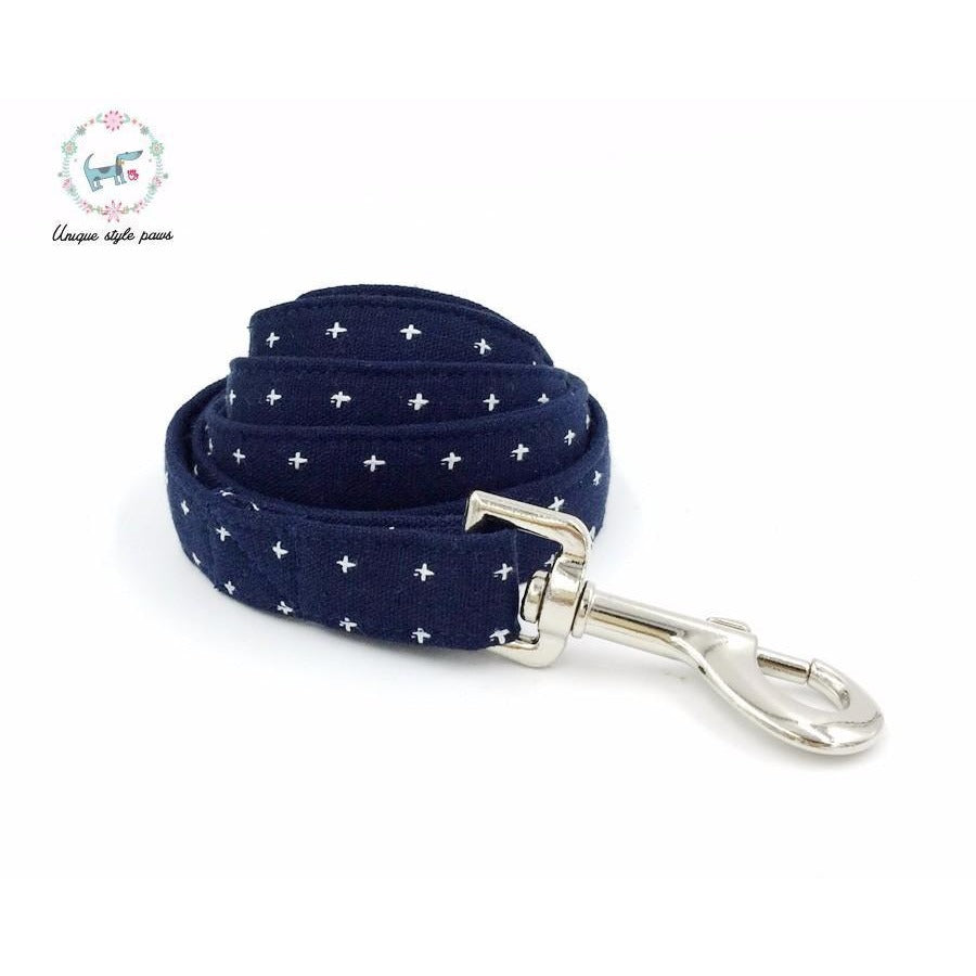 Doggie Trends leash Dog leash in contemporary blue with cream mini cross stitch.