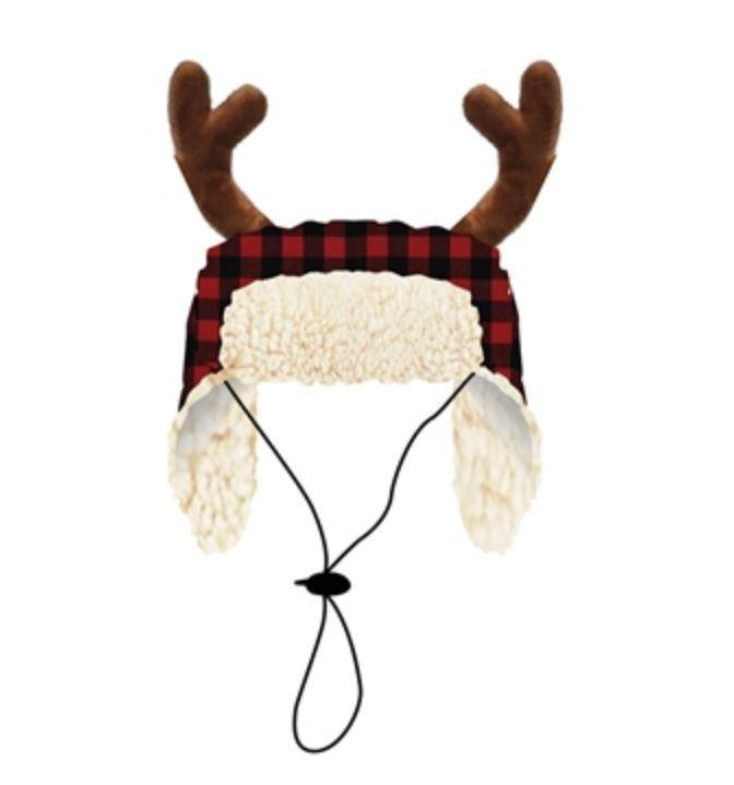 Doggie Trends Nyc Buffalo Plaid Dog Hat with Antlers