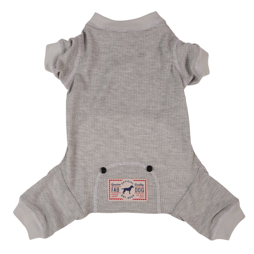 Doggie Trends Nyc Clothing Grey Soft Rib Thermal Dog Pajamas
