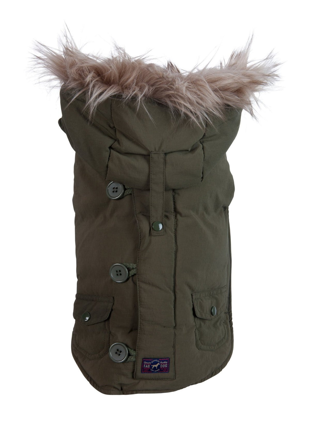 Doggie Trends Nyc Coat Olive Faux Fur Trim Dog Parka Winter Coat