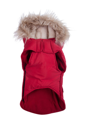 Doggie Trends Nyc Coat Red faux fur trim dog parka winter coat
