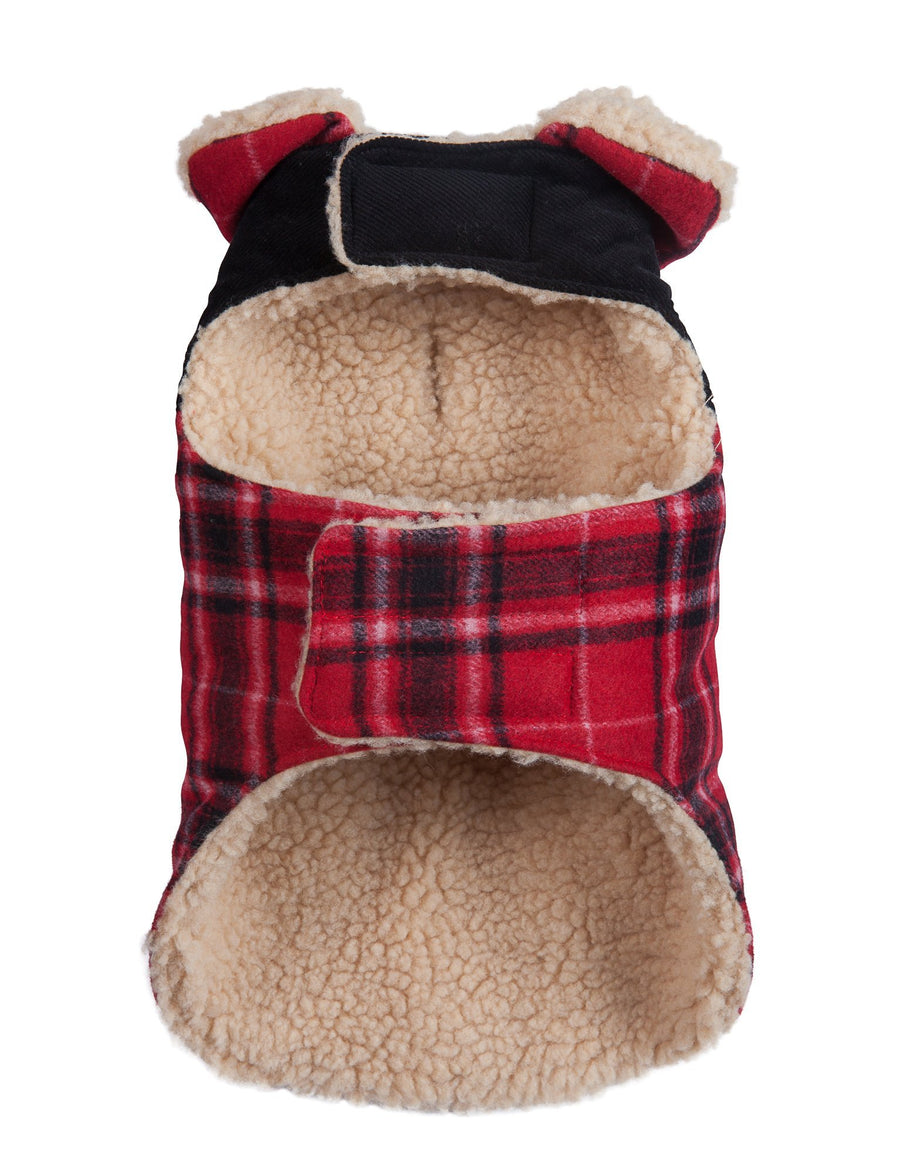 Doggie Trends Nyc Coat Red Plaid Dog Coat