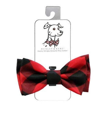 Doggie Trends Nyc Red Plaid Bowtie attachment for collar