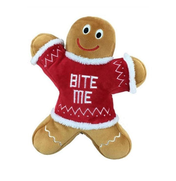 Doggie Trends Nyc Squeaky Gingerbread Man Dog Toy