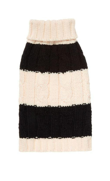 fabdog Black and Cream Stripe Dog Sweater