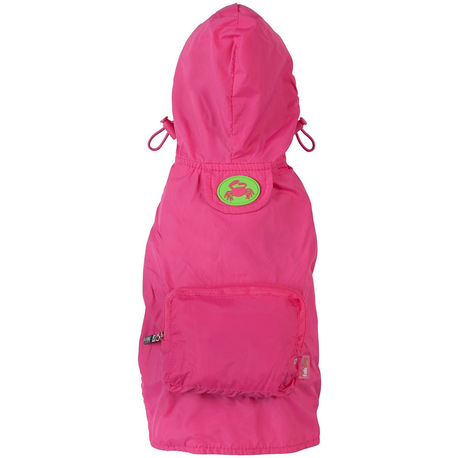 fabdog Coat Bright pink packable dog raincoat