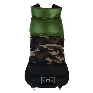 fabdog Coat Camo Colorblock Reversible Dog Puffer Jacket