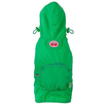 fabdog Coat Green packable dog raincoat by Fabdog