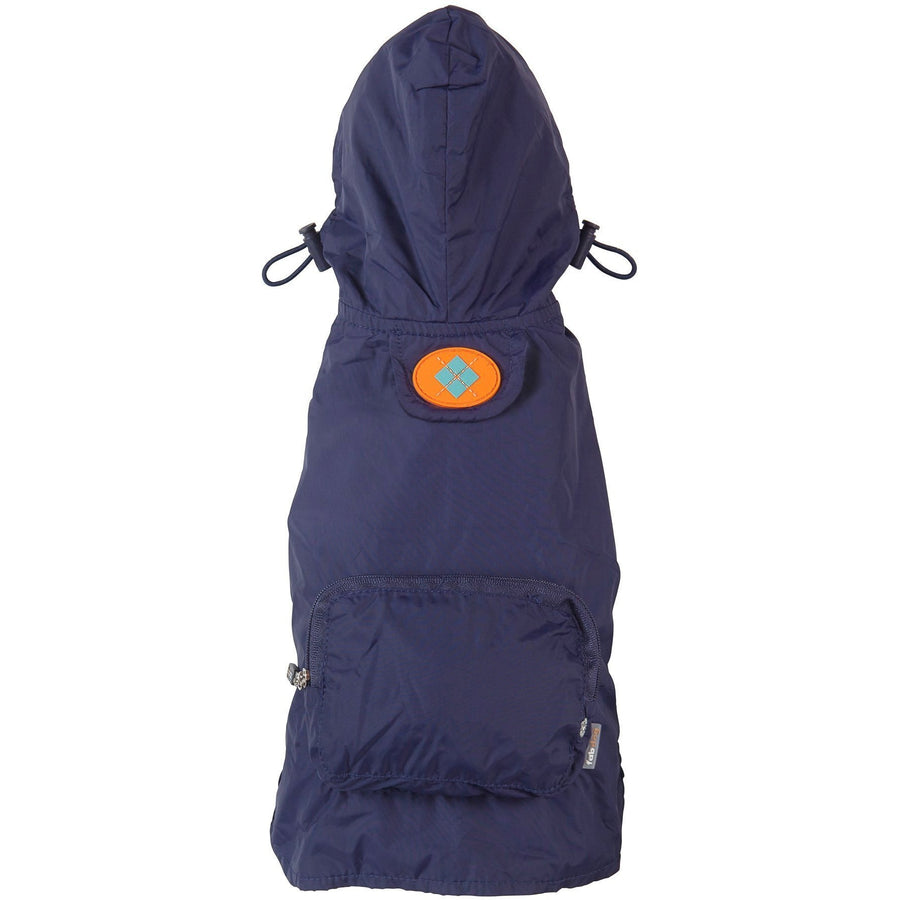 fabdog Coat Navy packable dog raincoat