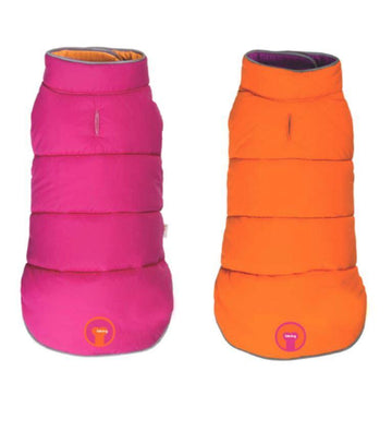 fabdog Coat Pink and Orange Reversible Dog Puffer Jacket
