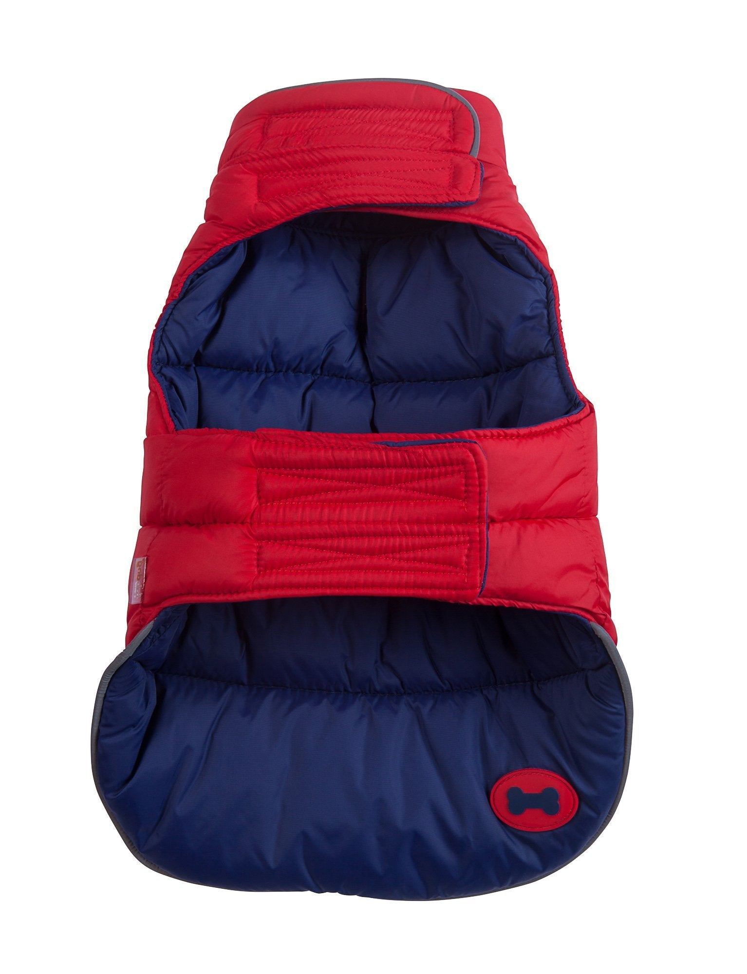 fabdog Coat Red and Navy Reversible Dog Puffer Jacket