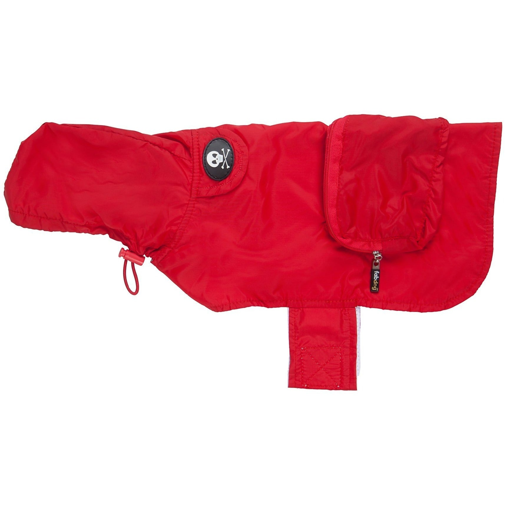 fabdog Coat Red packable dog raincoat