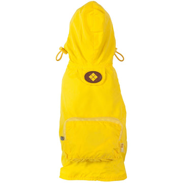 fabdog Coat Yellow packable dog raincoat