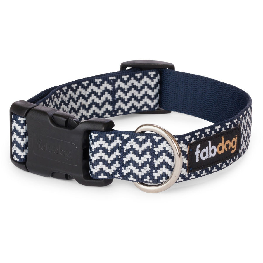 fabdog collar Navy and white chevron print dog collar by Fabdog