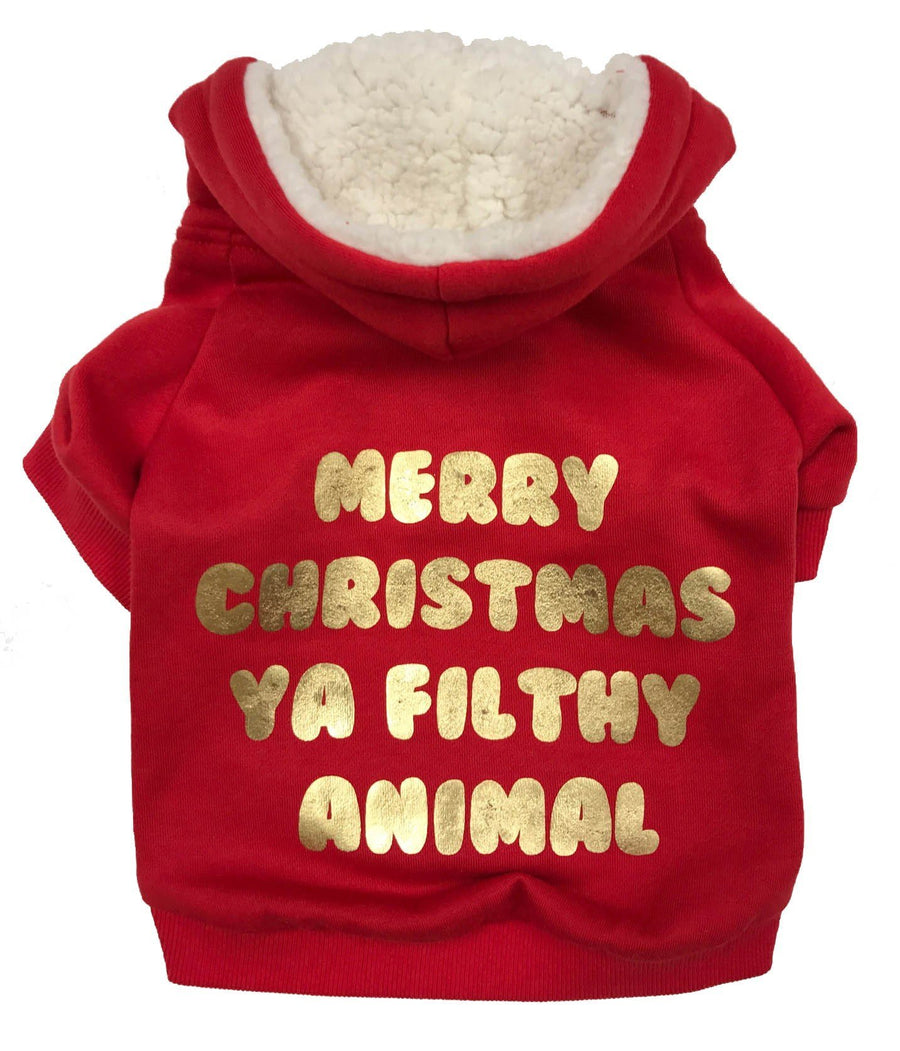 fabdog Merry Christmas ya Filthy Animal Red Festive dog hoodie
