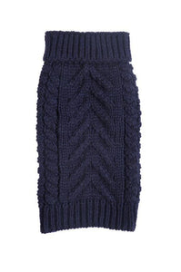 fabdog Navy Cable Knit Dog Sweater