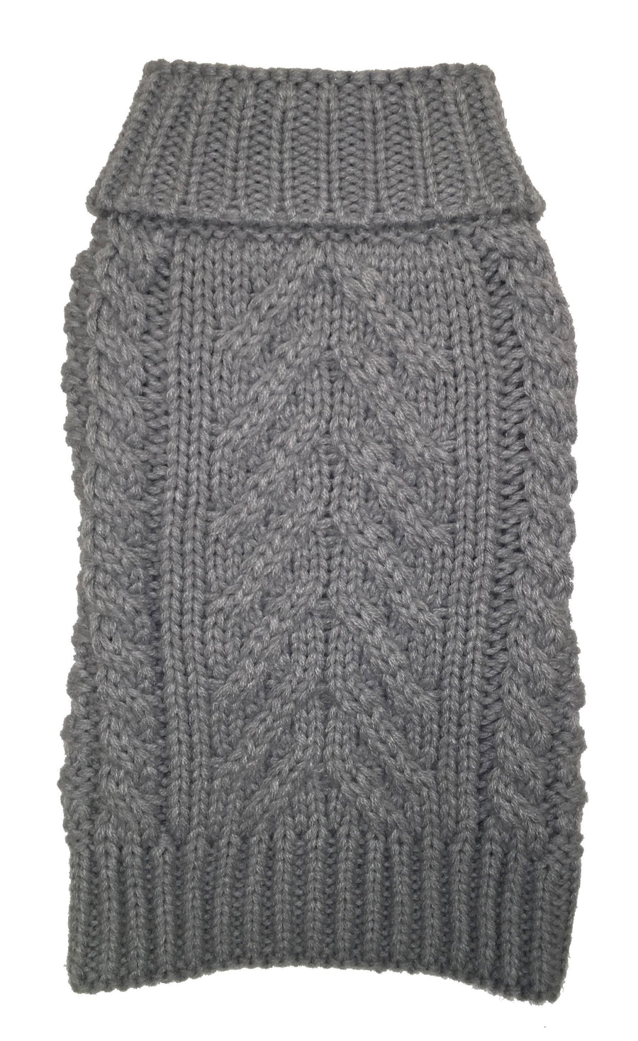 fabdog Pale Grey Cable Knit Dog Sweater