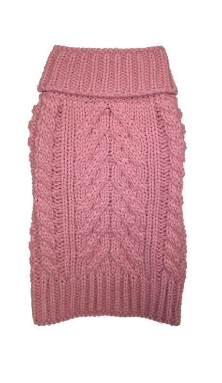 fabdog Pale Pink Cable Knit Dog Sweater