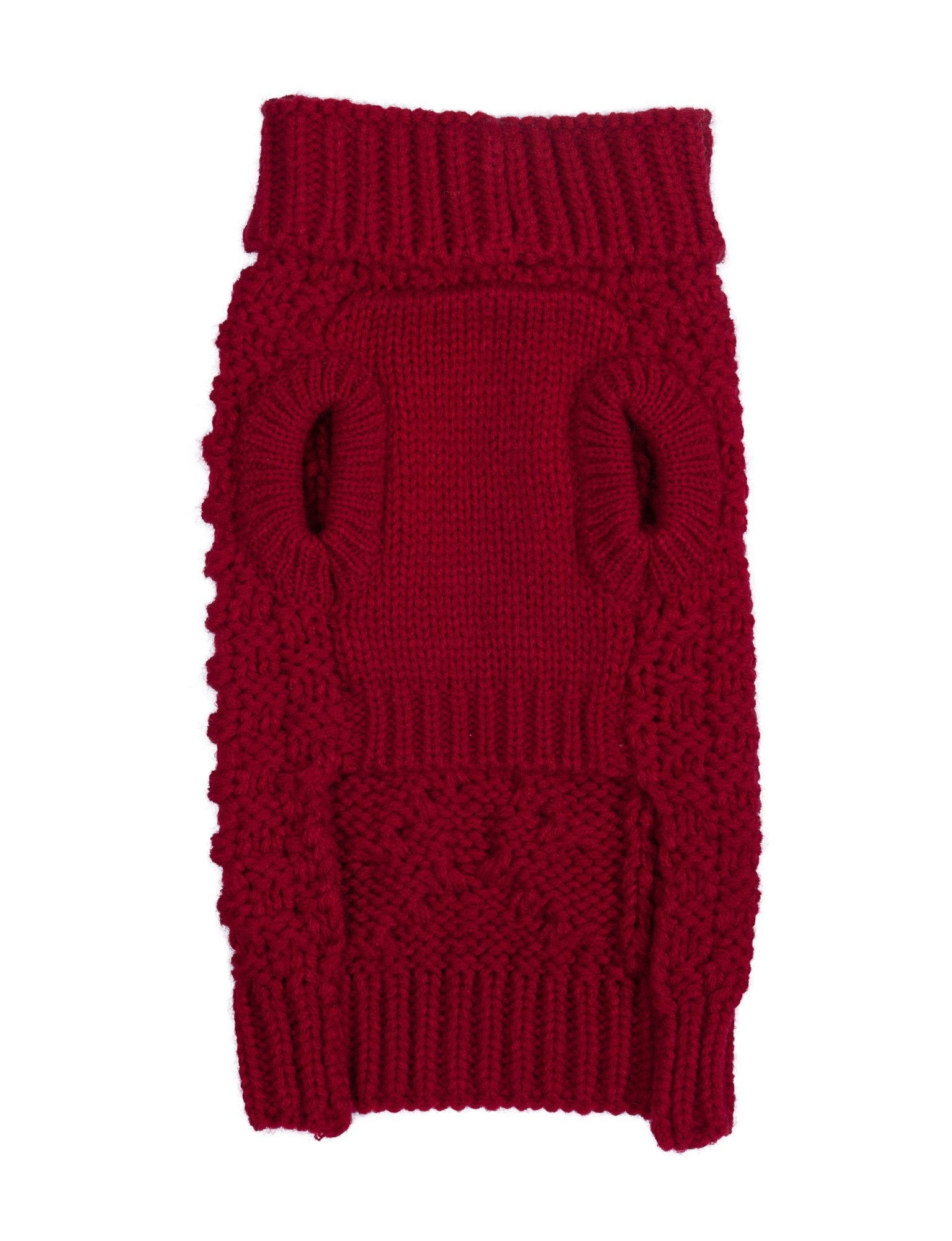 fabdog Red Cable Knit Dog Sweater