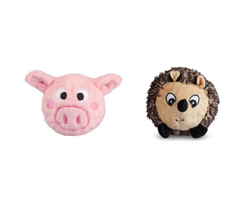 fabdog toys Pack of 2 Small Hedgehog and Pig squeaky balls