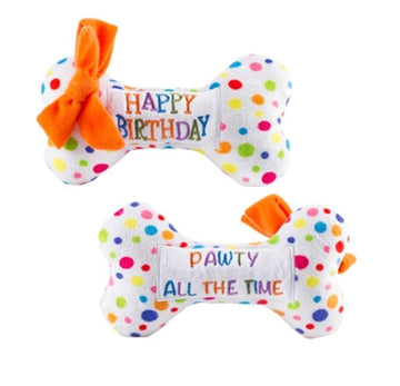 haute Birthday Pawty Small Dog Bone Toy