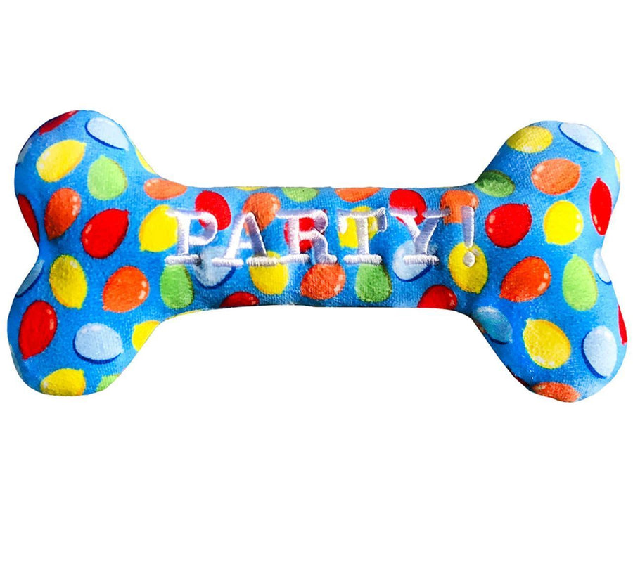 haute Blue Dog Birthday Squeaky Bone Toy