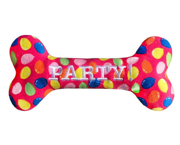 haute Pink Dog Birthday Squeaky Bone Toy