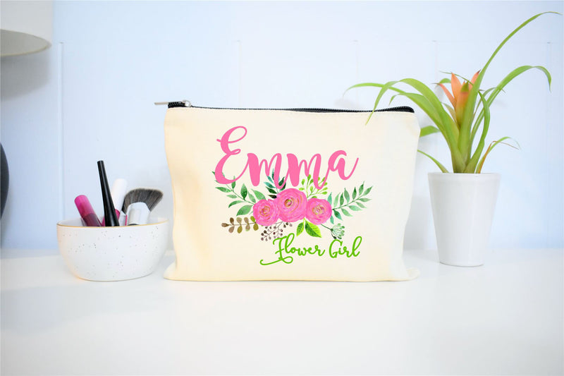 Personlaized Flower Girl Makeup Bag