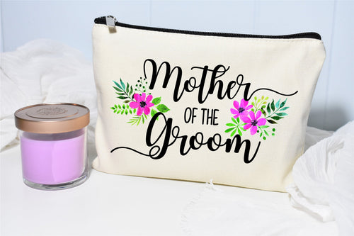 Mother of the Groom Makeup Bag- Pink flowers