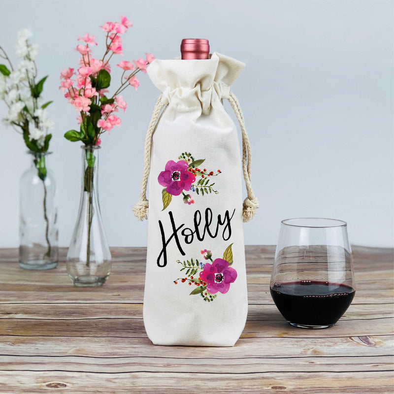 Personalized Floral Wine Tote