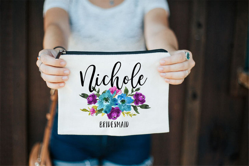 Bridesmaid Bag, Bridesmaid Gift, Bridesmaid Proposal, Bridesmaid Makeup Bag, Personalized Makeup Bag, Makeup Bag, Bride Gift, Cosmetic Bag